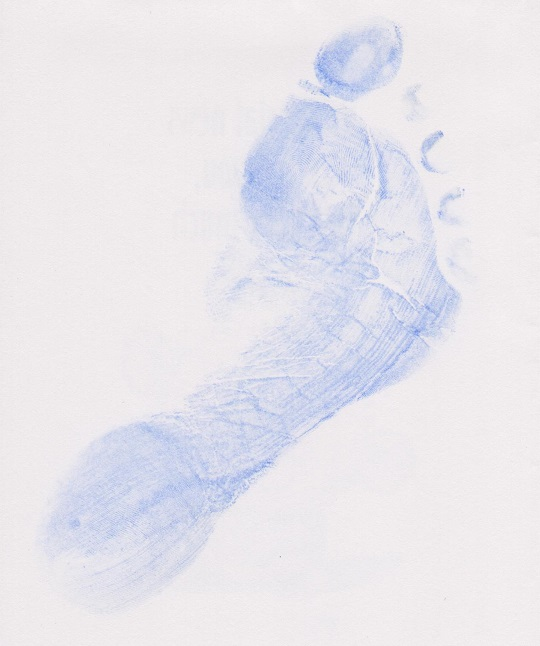 An Imp Prints Co made light blue footprint. Thesmake great keepsakes for parents