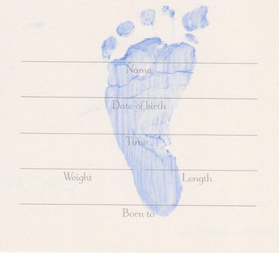 Imp Prints Co Blue hand and footprint over text