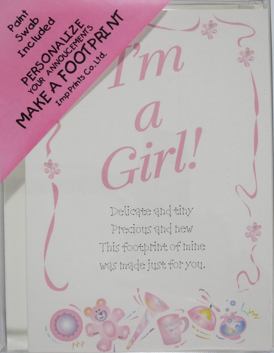 """I'm A Girl"" Birth Announcement Kit"