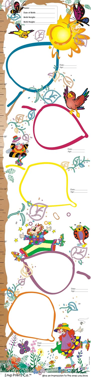 Imp Prints Co Growth Chart with tree in an enchanted forest motif. Five large colourfull leaves serve as spaces to make footprints and handprints as keepsakes for parents.