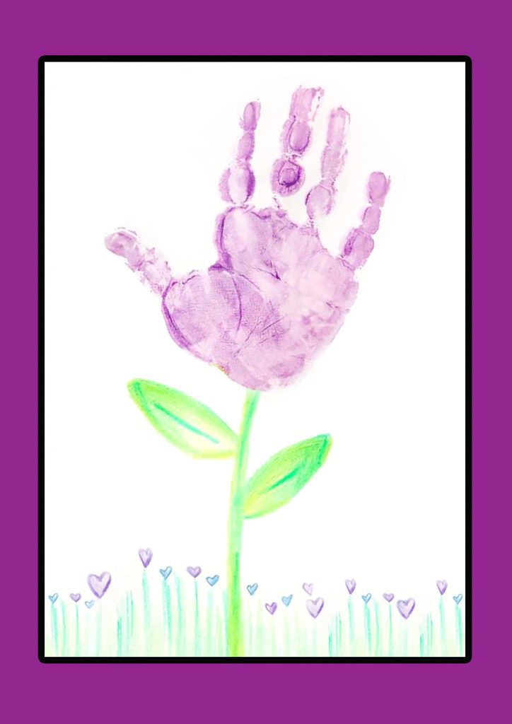 handprint footprint purple flower with the stem, leaves and garden in pencil crayon